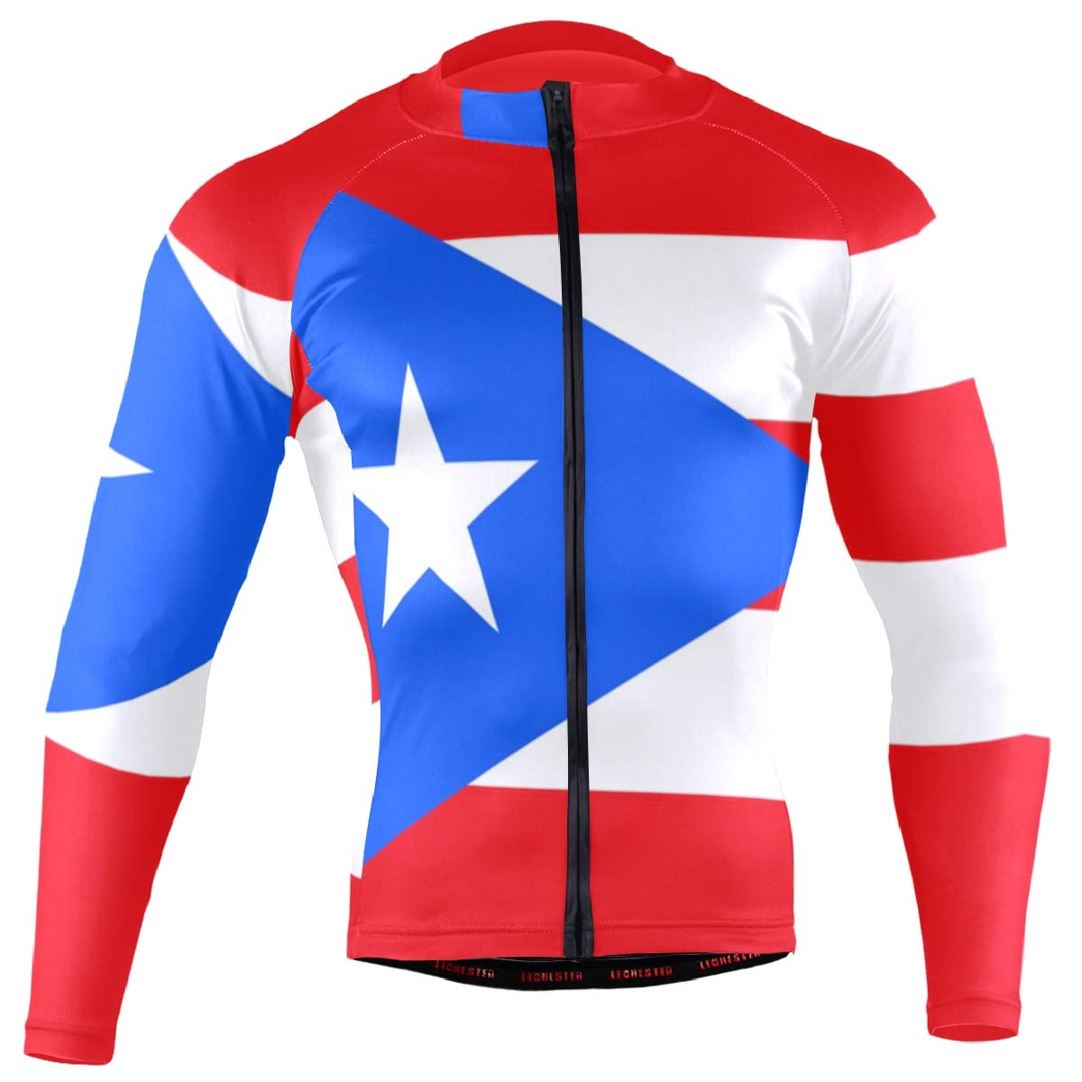 CHINEIN Men's Cycling Jersey Long Sleeve with 3 Rear Pockets Shirt Puerto Rico Flag