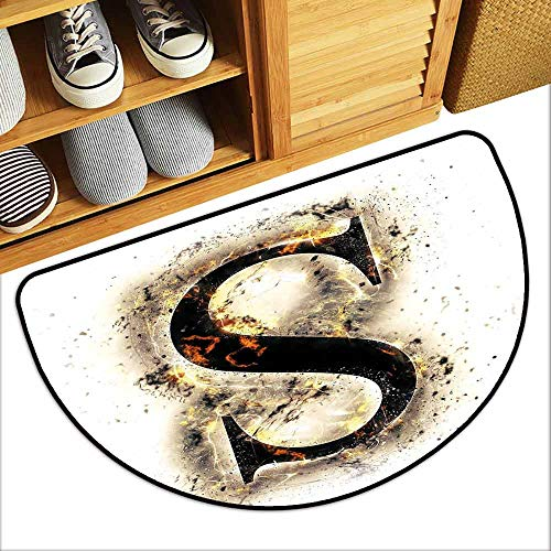 G Idle Sky Letter S Thin Door mat Fire Letter Uppercase S with Fiery Hot Flames Charred Symbol and Background Quick and Easy to Clean W31 x L19 Tan Black Orange
