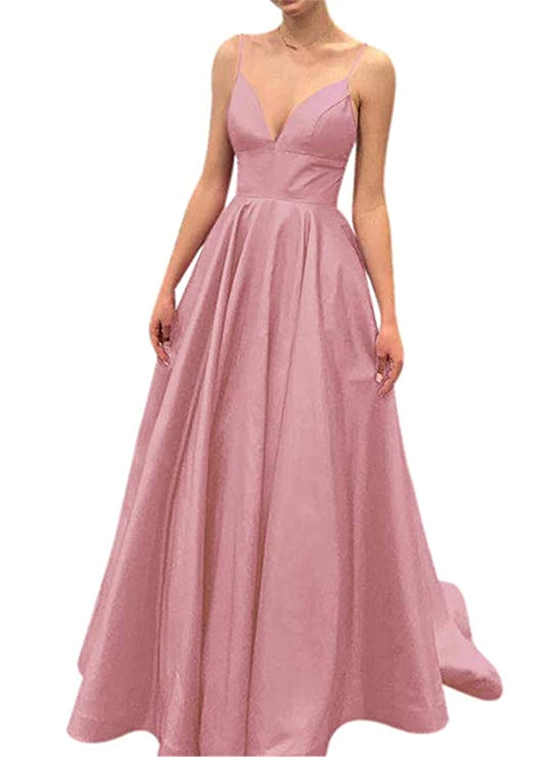 bluesh QiJunGe V Neck Evening Party Gown A Line Spaghetti Strap Prom Dress with Pocket