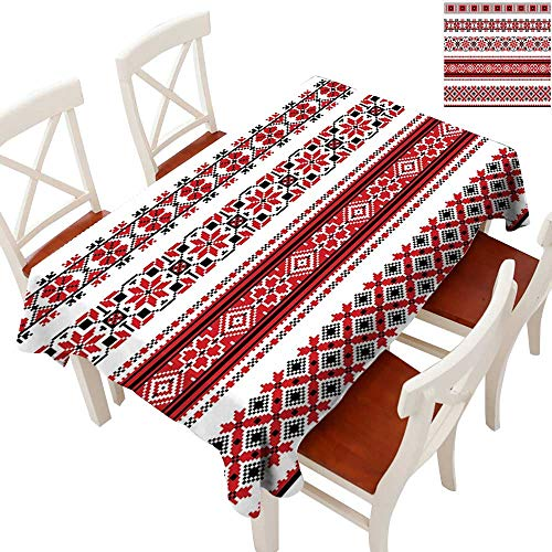 (Red Fabric Dust-Proof Table Cover Ukrainian Needlework Illustration Ethnic Traditional Accents Arts and Crafts Theme Waterproof/Oil-Proof/Spill-Proof Tabletop Protector Red Black White 70