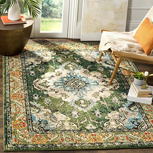 - Tribal Forest Medallion Themed Area Rug, Featuring Exotic Nature Wild Flowers Design, Rectangle Indoor Living Room Adults Bedroom Carpet, Geometric Floral Borders Pattern, Green, Cream, Size 6'7 x 9'2