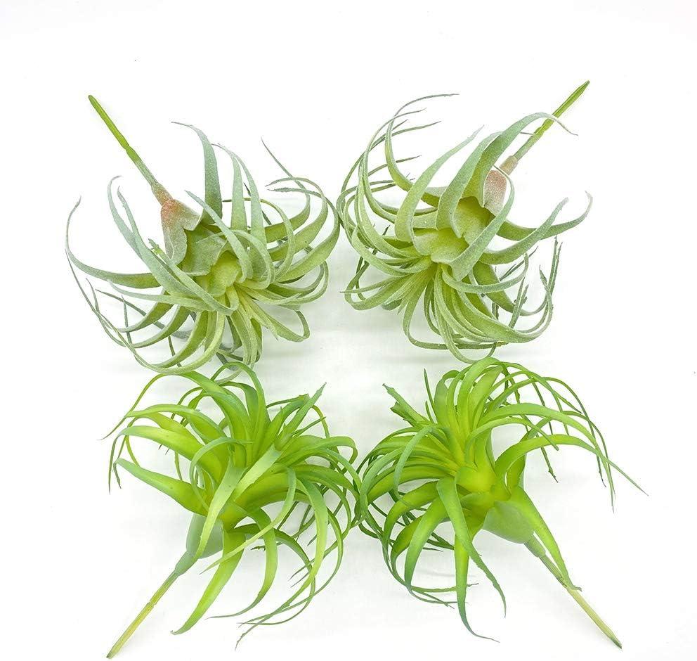 ZKTECH 4 Pack Artificial Air Plants Faux Flocking Tillandsia Air Plants Bromeliads for Home Decor Terrarium Decoration Artificial Succulents Plants Arrangement