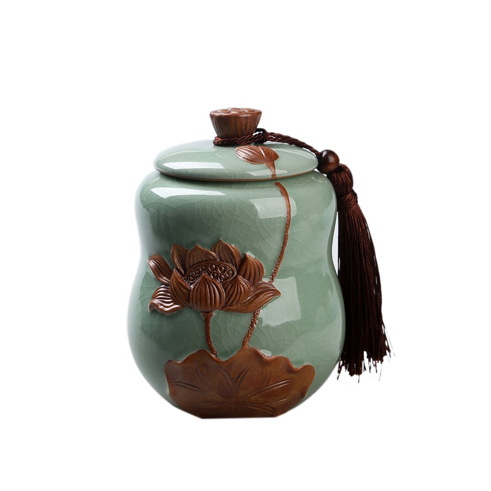 Lanburch Chinese/Japanese Style Glazed Ceramic Tea Storage Tins for Loose Tea Seed Pod of The Lotus Porcelain Tea Storage Chests Spice Jar Green