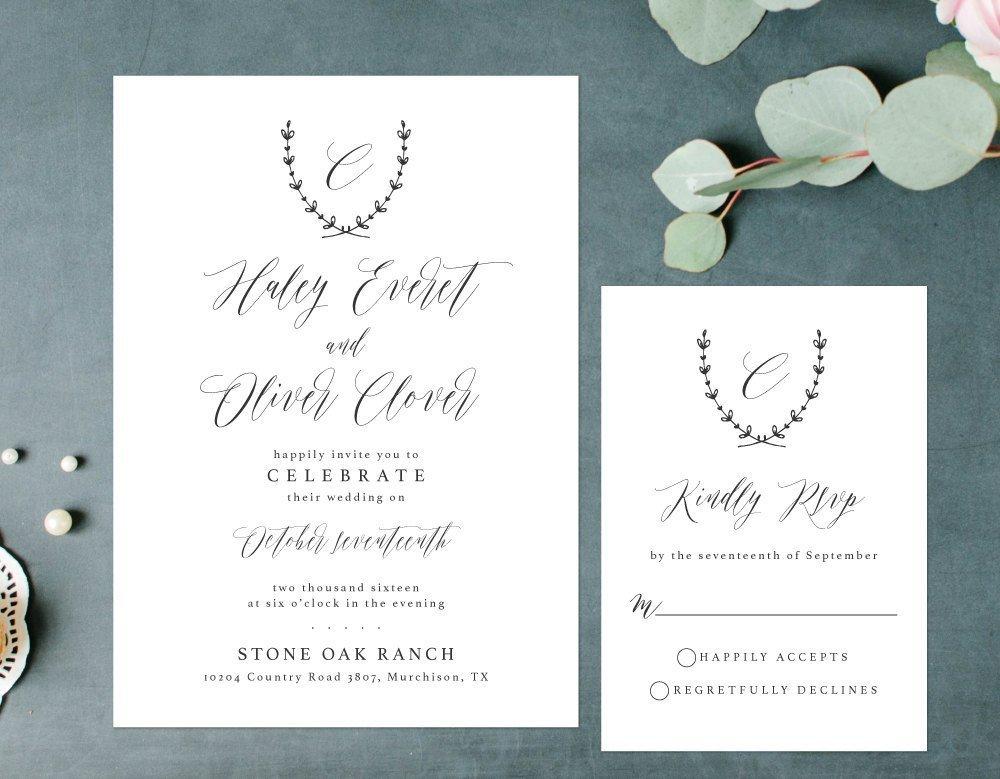 Elegant Wedding Invitation, Simple Rustic Invitation, Laurel Wreath Wedding Invitation