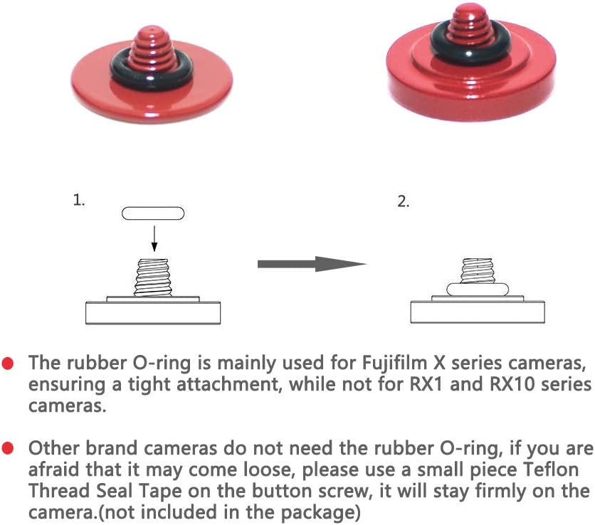 VKO Red Soft Metal Shutter Release Button Compatible with Fujifilm X-T4 X-T30 X-T3 X-T2 X100F X-T20 X-PRO2 X-PRO3 X-E3 X30 X100T X100S RX10 IV M9 M10 Camera 11mm Concave 10mm Convex Surface 2 Pack
