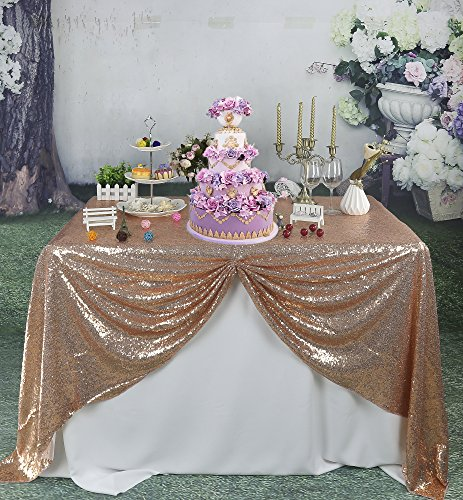 SoarDream Sequin Tablecloth 50x80 Inch Rose Gold Wedding Decoration Sequin  Table Cloth