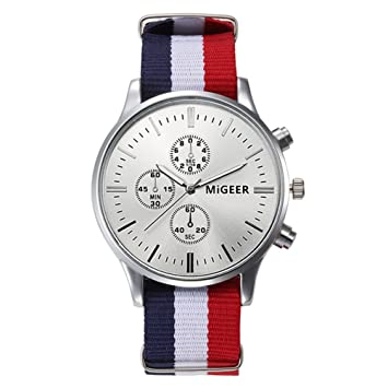 fenkoo Unisex Reloj de pulsera Quartz/cinta de tela Cómodo Blanco/Azul/Rojo