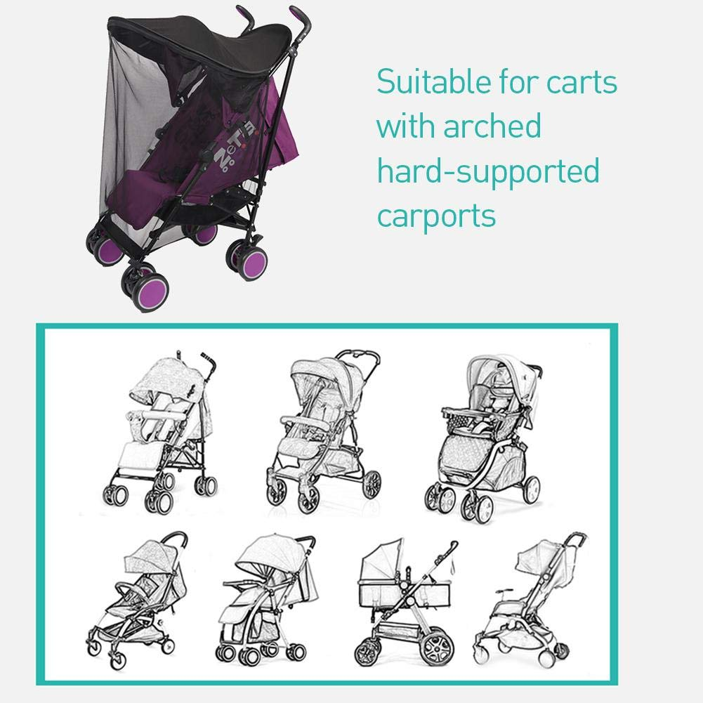 Ladeyi Baby Stroller Sunshade for Baby Buggy Uv Protection Universal Baby Mosquito Net Umbrella Cart Sunshade Cloth Mosquito Net Umbrella Stroller Sunshade Cover(cart is Not Included) by Ladeyi (Image #8)
