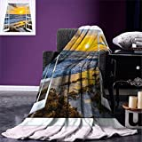 smallbeefly Coastal Digital Printing Blanket Open Window View of the Sky with Clouds Rising Sun Seascape Grass Morning Scenery Summer Quilt Comforter Multicolor