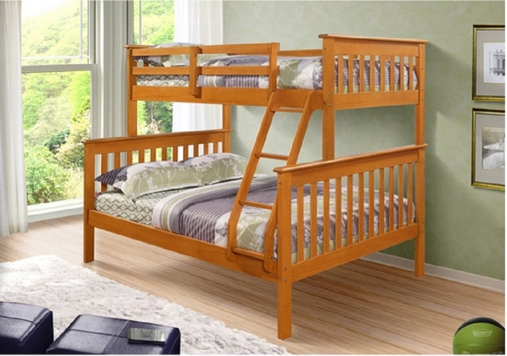 Mission Twin / Full Bunk Bed - Honey Finish