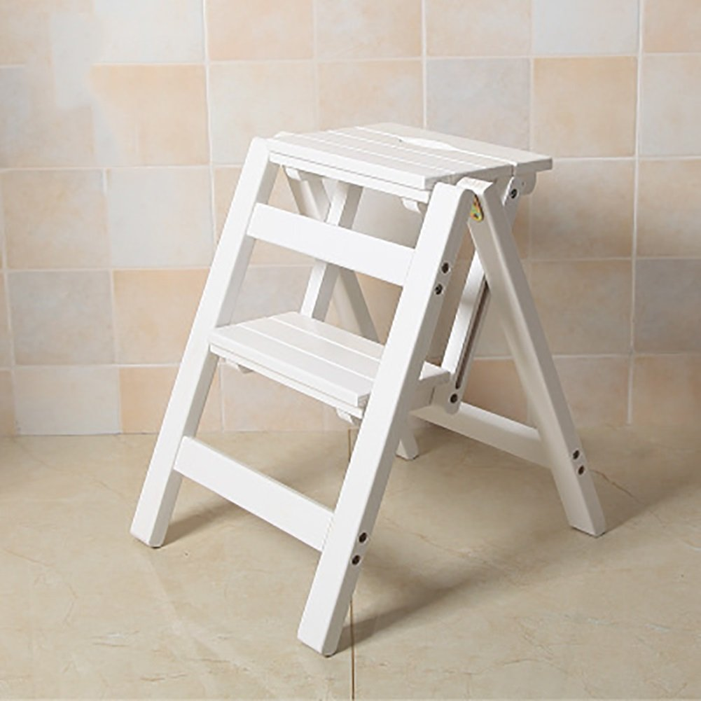 Ladder Chair Folding Wooden 2 Step Stool, 3 Tiers Portable Step Stool Ladder Seat Versatile Home Kitchen Bathroom Office Furniture (Color : White)