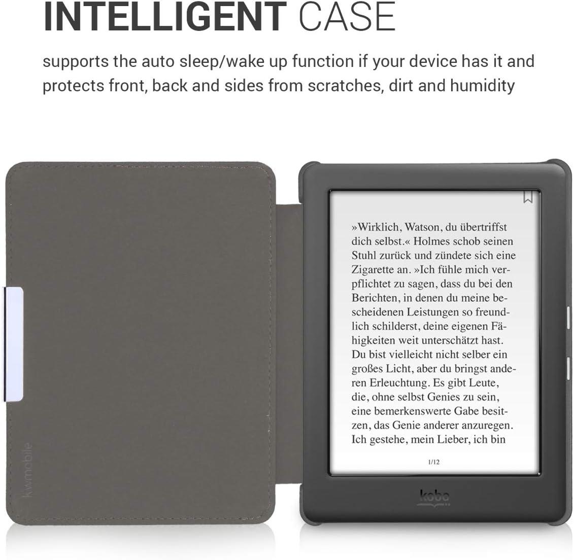 Carcasa para e-Reader de Cuero sint/ético Case con dise/ño de Flores de Cerezo cayendo kwmobile Funda para Kobo GLO HD//Touch 2.0