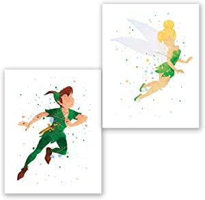 Peter Pan and Tinkerbell Posters – Set of 2 Art Prints – Kids Room Nursery Wall Decor – Party Decoration Supplies – Watercolor Artwork (8x10)