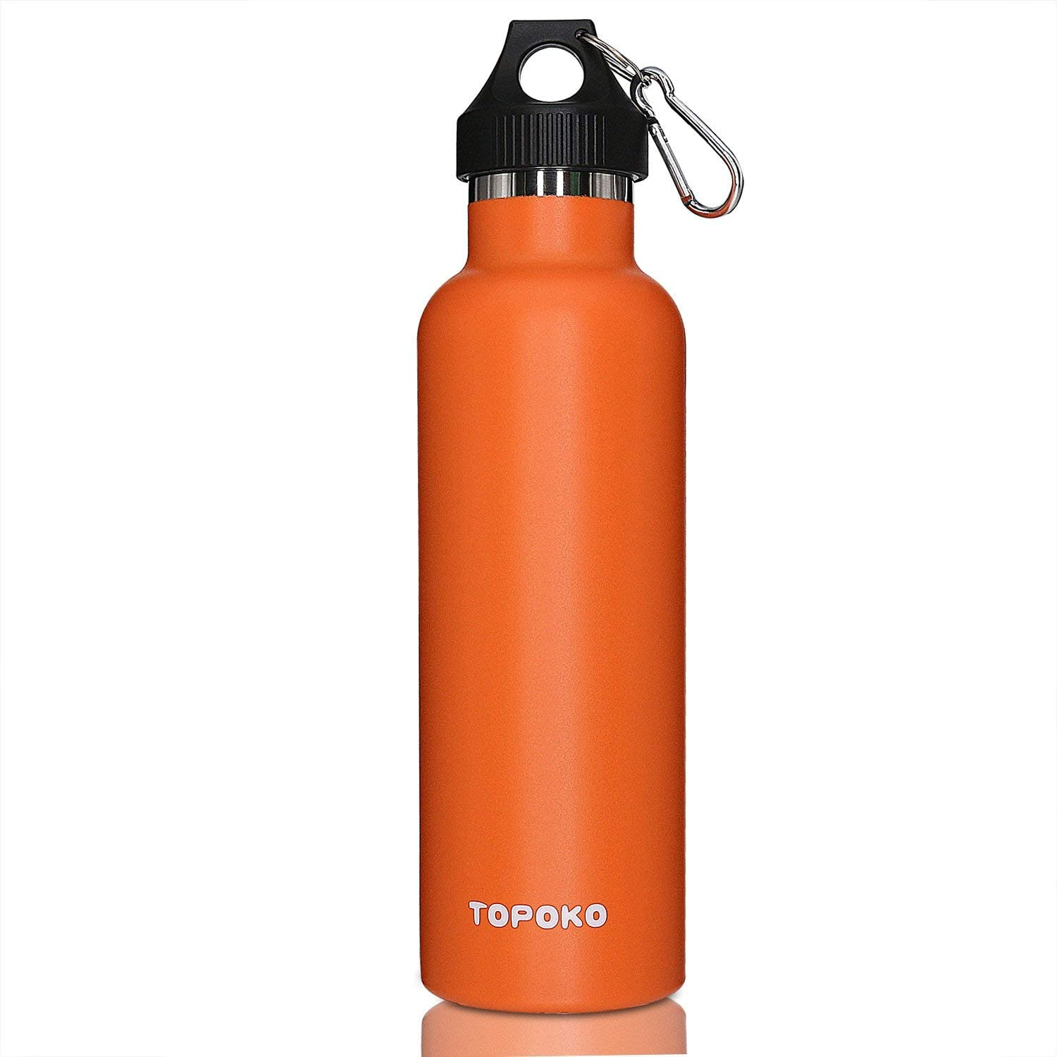TOPOKO Colored Non-Rusty Stainless Steel Vacuum Water Bottle Double Wall Insulated Thermos, Sports Hike Travel, Leak Proof, BPA Free, 25 oz, Grey (Orange)