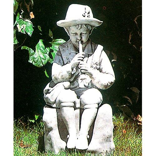 イタリア製 子供像(ガーデン オーナメント) 羊飼いの少年(台座付) B00FGRAO5S