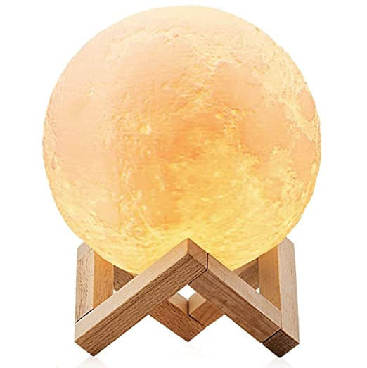 ChillHil Lampara de Luna LED 3D Moon Lamp - Recargable por USB 15cm, 3 Colores, Lamparas Infantiles (niña/niño/Bebe) de Mesa quitamiedos Nocturna, ...