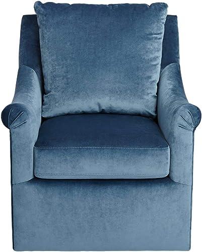 Madison Park Deanna Swivel Arm Chair Blue Velvet Upholstery Black Metal Stand Solid Wood Frame