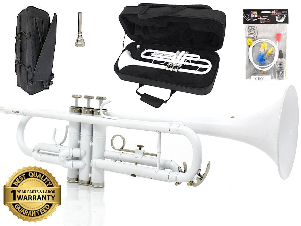 D'Luca 500WH 500 Series Standard Bb Trumpet with Professional Case, Cleaning Kit, White