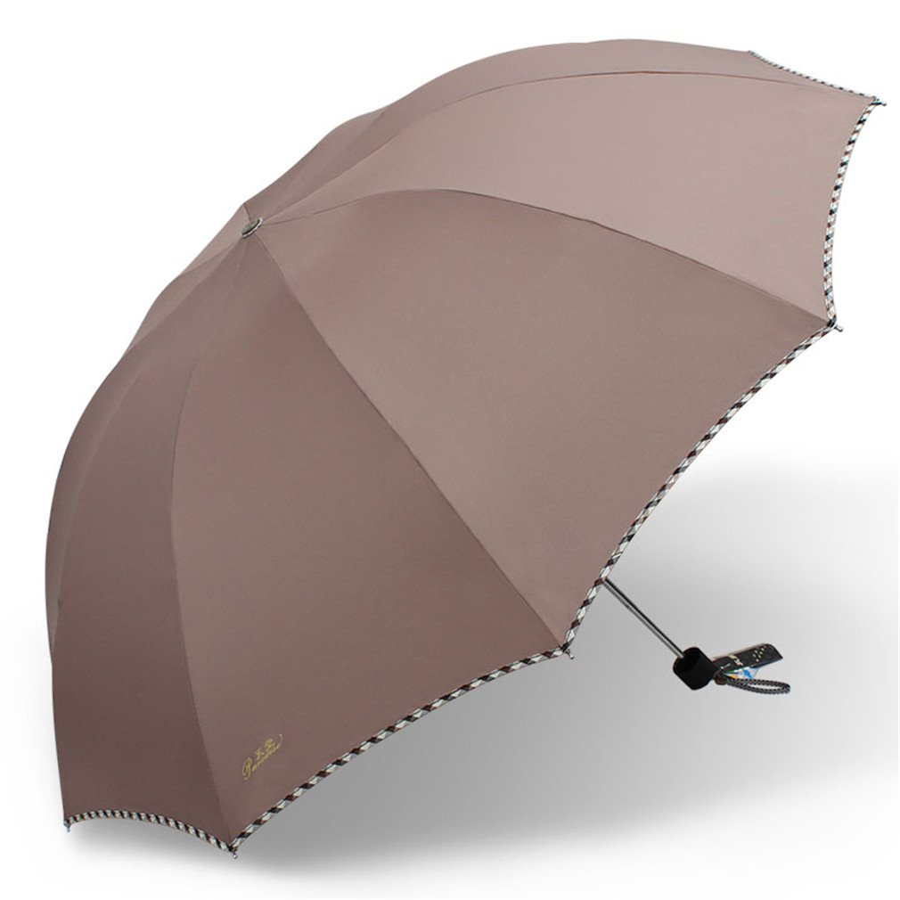 Guoke One Umbrella Male And Large Female Students Fold Reinforcement Two Umbrellas With A Fine, Brown - 112
