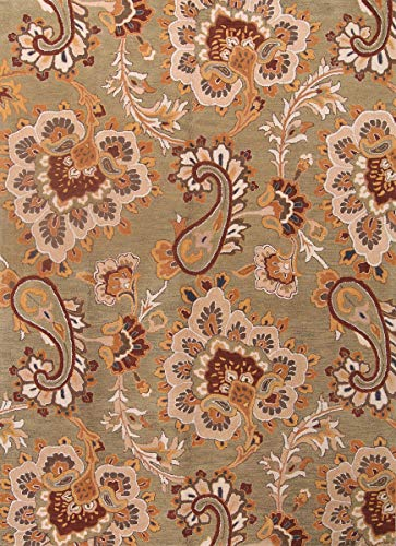 Agra Ivory Green - Sage Green Classic Floral Paisley Design Wool 8X11 Oushak Agra Oriental Area Rug (11' 0'' X 8' 0'')