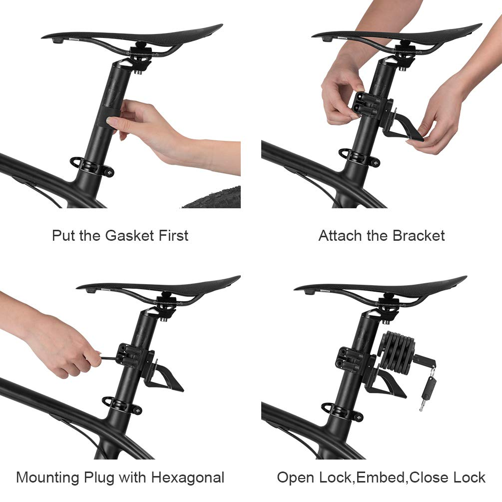 ROCK BROS Cube Bike Lock Heavy Duty Anti-Theft Bicycle Chain Lock Folding with Mounting Bracket Multi-Function Alloy Hamburger Lock with Keys Black