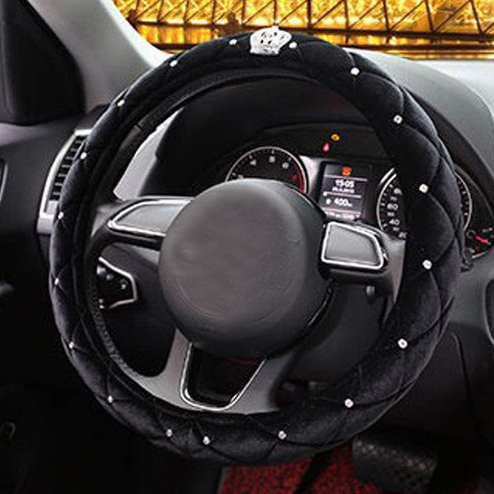 Bling Ring Black ALVAZA Velvet Steering Wheel Cover,Crystal Bling Bling Rhinestones Crown Car Diamond Anti-Slip Steering Wheel Cover for 15 Inch Women Girls