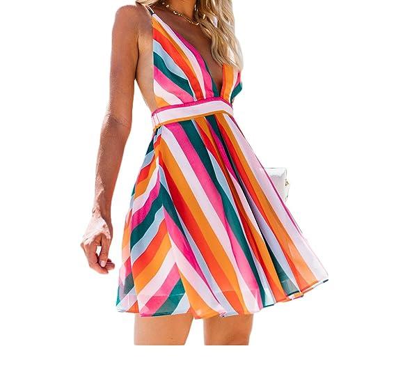7c55f9e8d6e7 Women Beach Sundress Spaghetti Strap Backless Rainbow Striped Bohemian Maxi  Dress (S, Short)