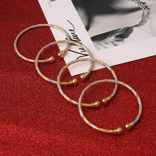 Dubai Bangles   Unisex Twos Tone Bracelets   Girl's African European Ethiopia Jewelry   Bride Bangles Gift (4pcs) ()