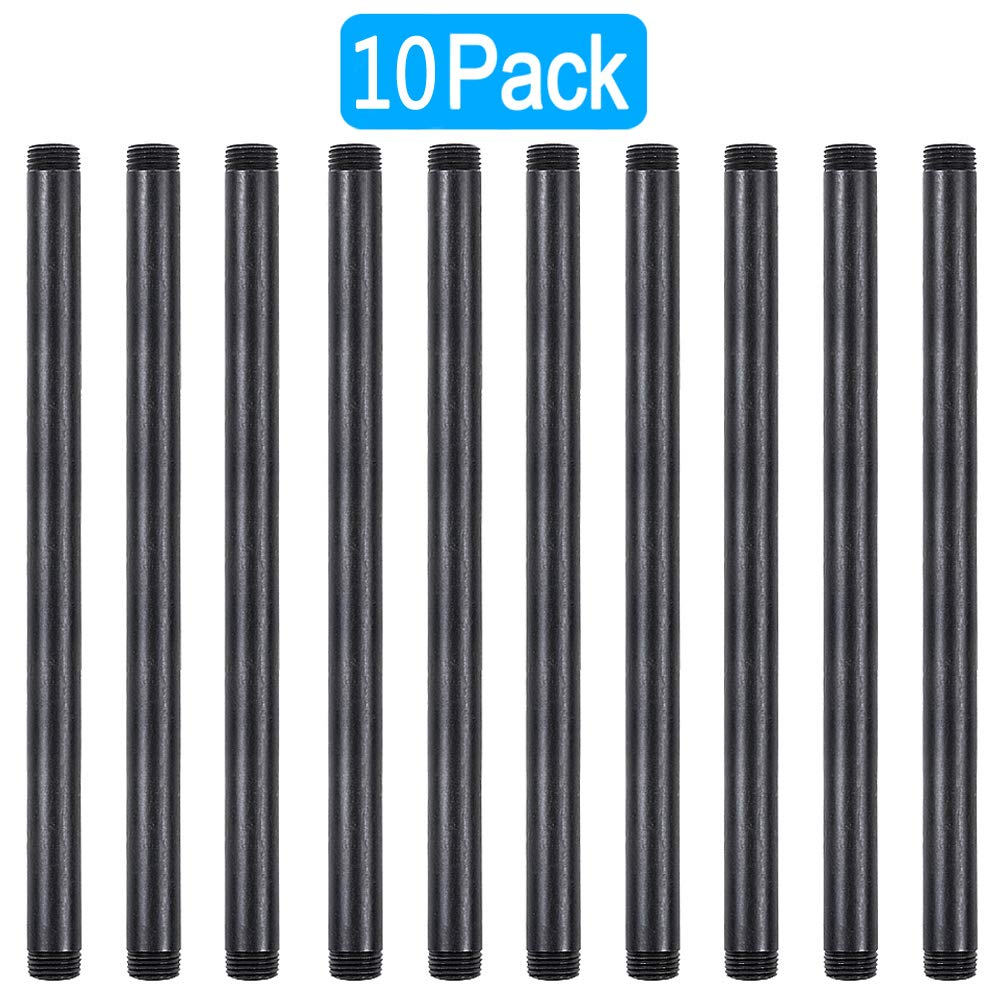 GOOVI 1/2 Inches x 12 Inches Black Malleable Steel Pipe Fitting, 1/2 Inches Black Pipe Threaded Pipe Nipples, Build Vintage DIY Shelving Steampunk Furnitur, 10 Pack. by GOOVI (Image #1)