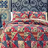 Cozy Line Home Fashions Vintage Patchwork Quilt Bedding Set, Rose Garden Burgundy Red Denim Navy Blue Floral,100% COTTON, Reversible Coverlet, Bedspread, Gifts for Women (Red/Khaki, Twin - 2 piece)