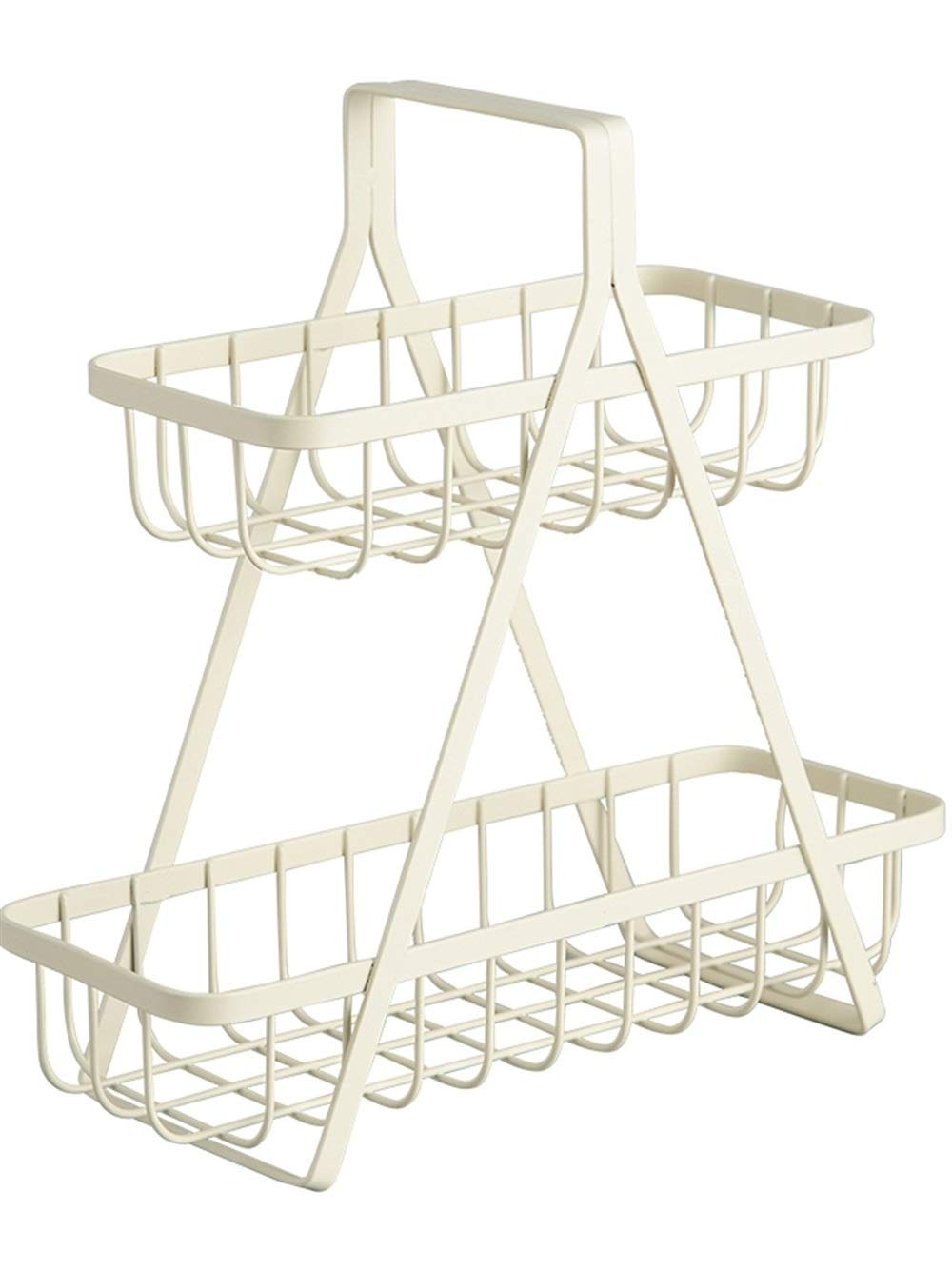 YChoice Rack Decor Japanese Desktop Iron Racks Double Kitchen Seasoning Multifunctional Storage Rack Home Finishing Shelf (Color : White)