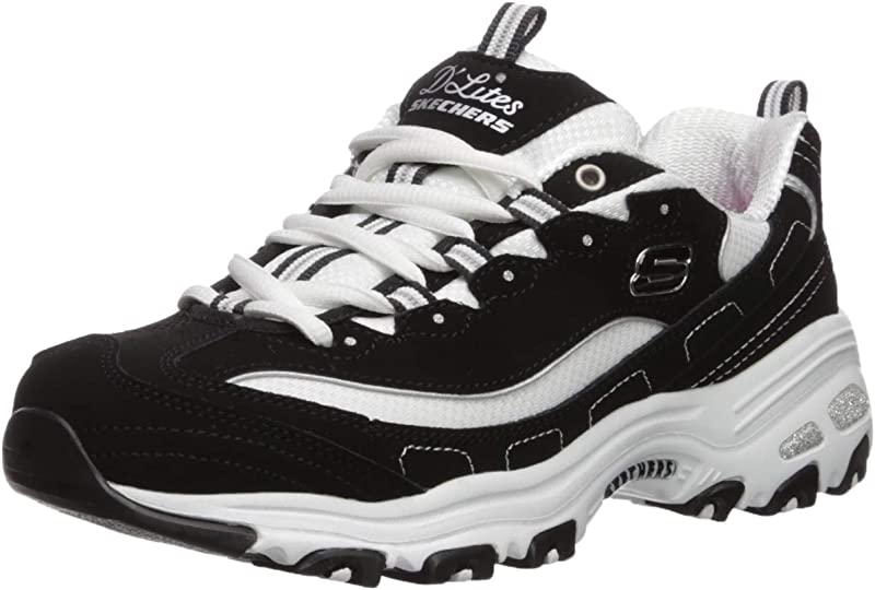 Skechers D'Lites Biggest Fan Sneakers Damen Schwarz Weiß