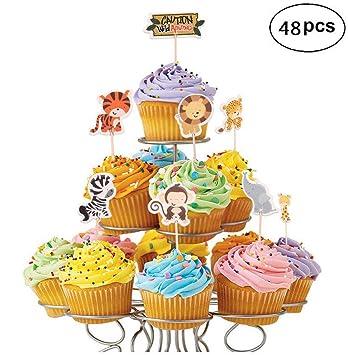 Amazon Com 48 Pack Zoo Animal Cupcake Toppers Safari Or Jungle
