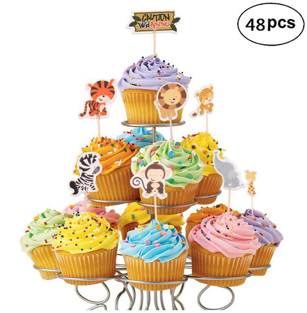 48 Pack Zoo Animal Cupcake Toppers Safari or Jungle Themed Cake Topper for Party Decoration, Birthday Baby Shower