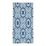 31.49''W x 62.99''L Cotton Microfiber Bath/Hand Towel,Moroccan,Moroccan Portuguese Style Classic Tiles Ornaments Islamic Historical Buildings Art,Blue White,Ultra Soft,For Hotel Spa Beach Pool Bath