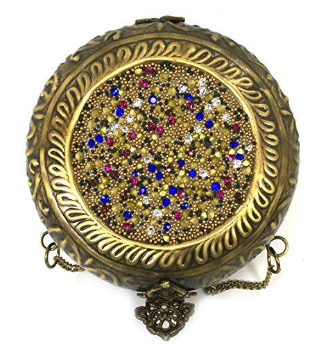 Batu Lee Stylish Handmade Antique Metal Clutch Purse Wallet hard Handbag with Strong Golden/Silver Chain Multi Elipse Shape for Women (Gold)