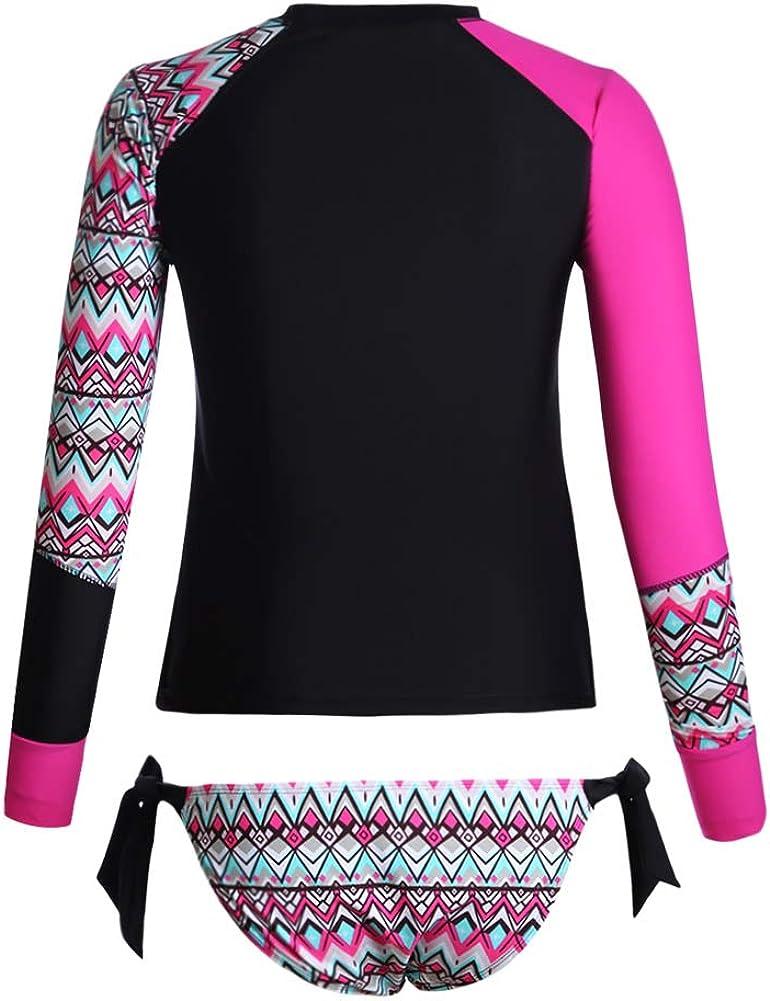 Dokotoo Womens 2pcs Long Sleeve Rashguard Swimsuits Color Block Tankini Sets