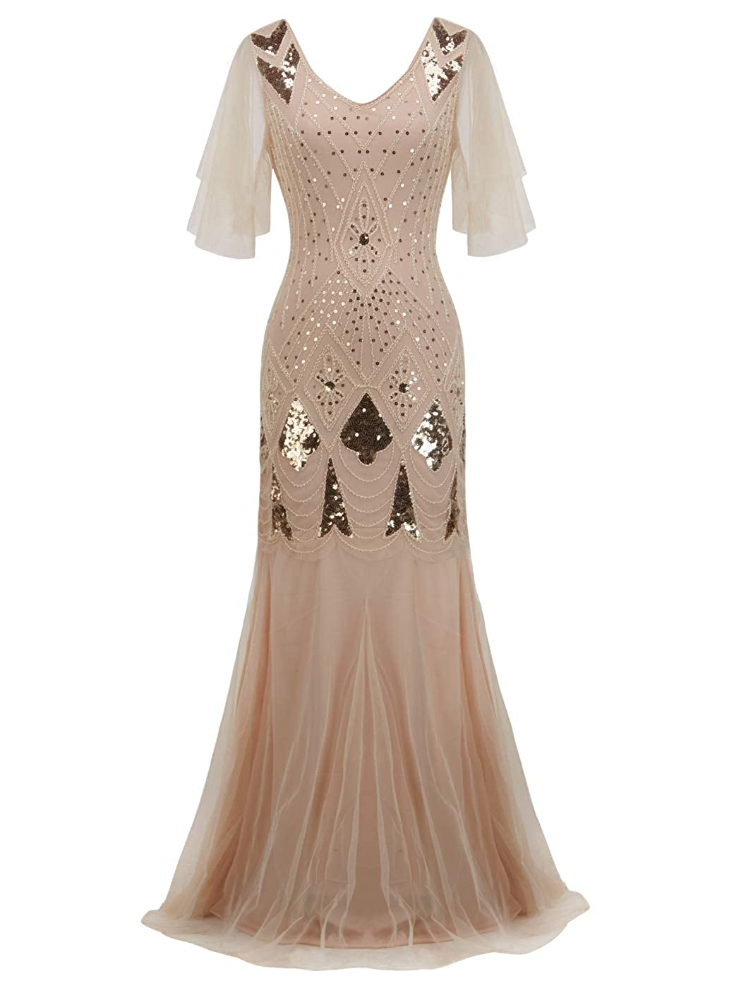 023champagne gold FAIRY COUPLE 1920s FloorLength VBack Sequined Embellished Prom Evening Dress D20S004