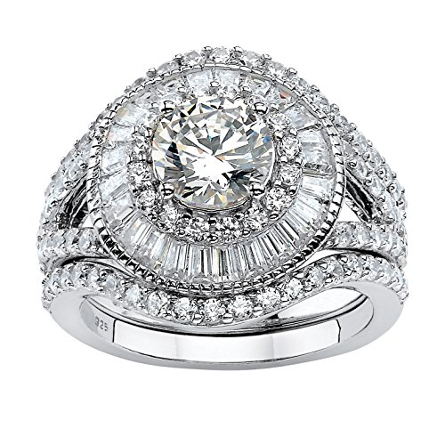 Platinum over Sterling Silver Round Cubic Zirconia Double Halo Bridal Ring Set Size 7 (Round Brilliant With Tapered Baguettes Engagement Ring)