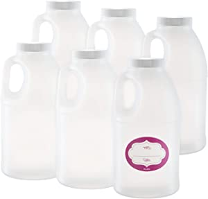 Pack of 6 - Round Jug Style Container - Natural Plastic Bottle - Airtight Lids And labels- Wide Mouth, For Oil, Honey, syrup, sauces, dressing - Food Safe BPA Free (6 Pack 36 Oz)