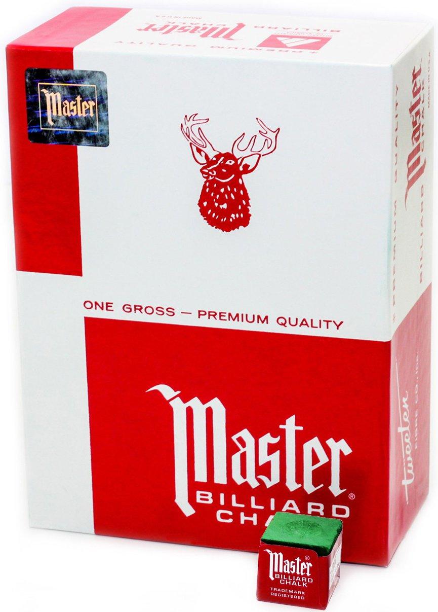 Master Billiard/Pool Cue Chalk, Gross Box, 144 Cubes, Green