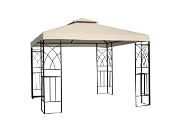 Greenbay 3 x 3 m Metal Gazebo Pavilion parasol de pantalla refugio carpa jardín reunión fiesta tienda de campaña, arena: Amazon.es: Jardín