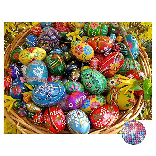 LIPHISFUN DIY 5D Diamond Painting by Number Kit for Adult, Full Round Resin Beads Drill Diamond Embroidery Dotz Kit Home Wall Decor,30x40cm,Easter Egg
