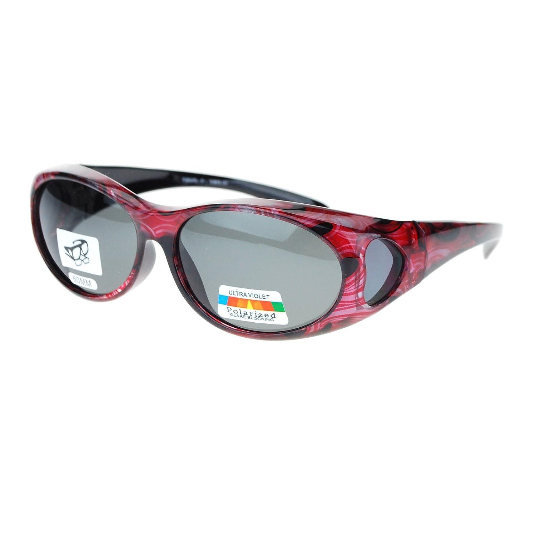 aa8f8cf178 Amazon.com  Womens Glare Blocking Polarized Lens 60mm Fit Over Oval  Sunglasses Dark Red  Clothing