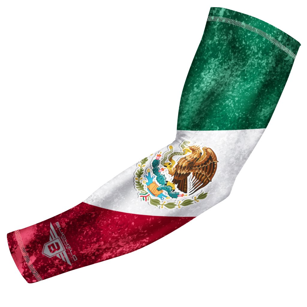 Bucwild Sports Mexico Flag Compression Arm Sleeve - Youth & Adult Sizes - Perfect for Baseball Basketball Football + Much More (1 Sleeve - Mexico - Adult Small)