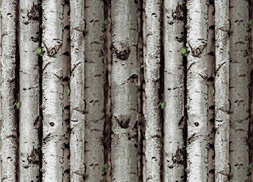 Crazy Cart PVC Simulation White Birch Tree Bark Wood Wallpaper - Grey White