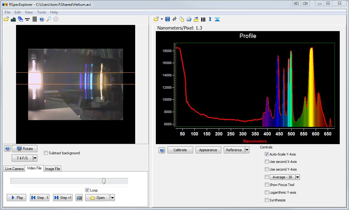 RSpec Explorer, Classroom Video Spectrometer for Gas Tube Spectrum and other Spectra