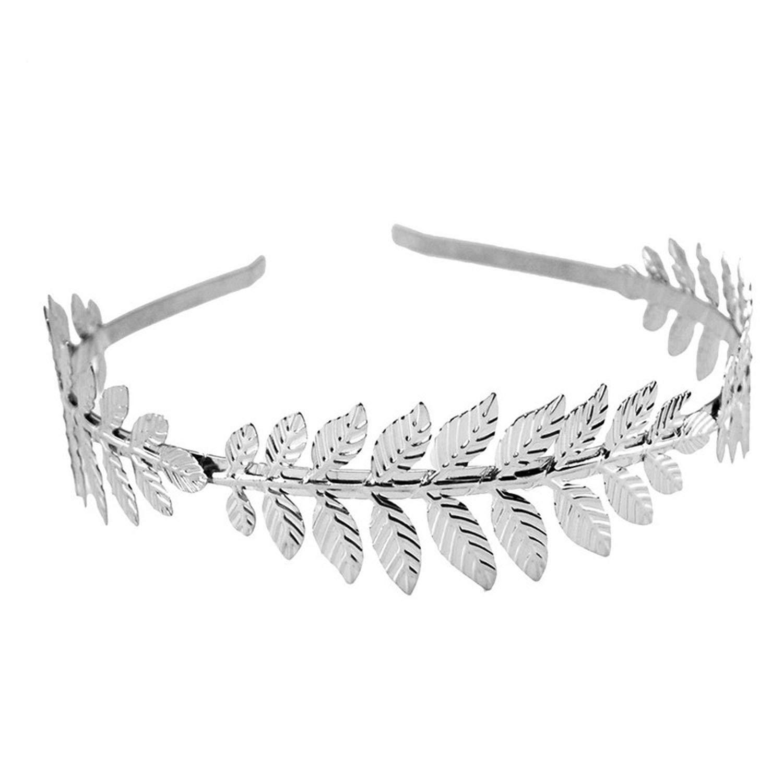 Fashion Gold Plated Metal Leaf Headband Hairband for Women Wedding Hair Accessories Tiara Elegant Silver Leaves Head Piece,4347