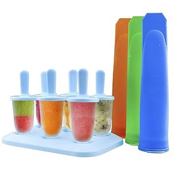 Compra ZesGood - Juego de 9 moldes de silicona de uso alimentario para hacer polos helados, que incluye 3 moldes largos de tipo calippo y 6 moldes pequeños ...