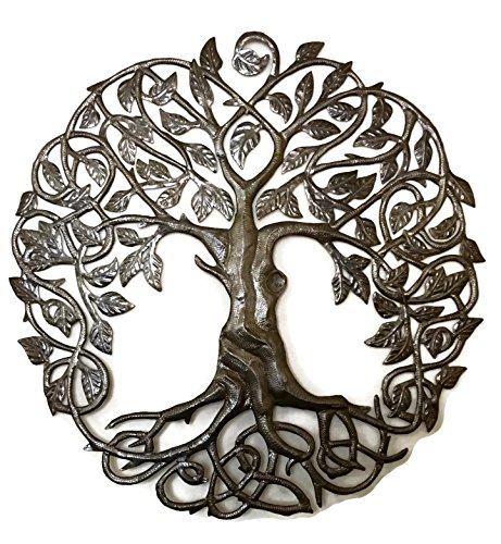 "Family Roots Tree of Life, Large Outdoor Wall Art, Recycled Metal Haiti, 33"" X 33"""